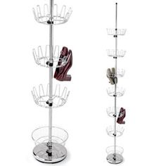 Floor-to-ceiling Shoe Tree. Turn a corner into storage for 36 pairs!...Need this, for a corner in my closet...Connie