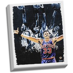 Patrick Ewing Dark 22x26 Stretched Canvas - This Beautifully Framed Breathtaking Stretched Canvas of Patrick Ewing is the perfect way to take your man cave to the next level. This piece is hand-created exclusively at Steiner Sports Headquarters in New Rochelle NY and is professionally printed on an extremely high quality 20-mil thick mid-gloss canvas. The canvas will arrive pre-stretched and ready to hang on your wall in a one-of-a-kind display where the canvas itself is floating. This is a…