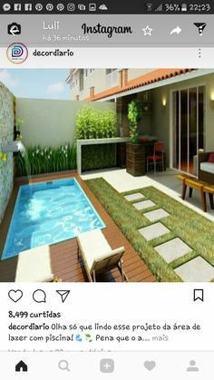 38 The Best Swimming Pool Designs Ideas That You Definitely Like - Swimming pools are places where people love to relax in and by. The different swimming pools that you will find are a sign of how people want to have . Backyard Pool Designs, Small Backyard Pools, Patio Design, Backyard Patio, Backyard Landscaping, Backyard Ideas, Design Design, Design Ideas, Pools For Small Yards
