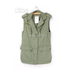 Wholesale women Vest army green lapel Waistcoat CARGO PANTS Clothes... ($40) ❤ liked on Polyvore