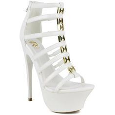 white open toe multi strap design back zipper platform high heels ($11) ❤ liked on Polyvore featuring shoes, pumps, heels, white, heels & pumps, open-toe pumps, gold heel pumps, high heel pumps and platform shoes