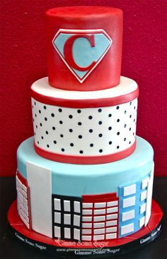 Vintage Super-hero birthday cake    www.gimmesomesugarlv.com  #superherocake #childrensbirthdaycake #customcakes
