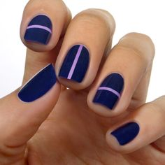 Lulus.com: Navy Blue & Lilac Striped Mani Tutorial