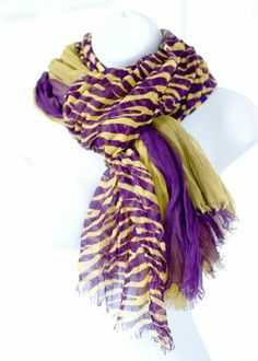 LSU Scarf. Triple Layer Scarf: Purple and Gold and Tiger Stripes. GEAUX Tigers!!