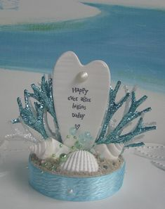 Seashell Beach Wedding Cake Topper~Happy Ever After Begins Today Cake Topper~Wedding Cake Topper Coral Wedding Cakes, Beach Wedding Cake Toppers, Ever After, Special Day, Sea Shells, I Am Awesome, Wedding Decorations, Blue And White, Happy