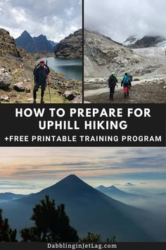 Planning on hiking uphill? I've put together a list of the best exercises to help you train for your next hiking adventure. And there is a free printable 8-week training program to help you get in shape. #Hiking #Trekking #Tips Best Stretches, Stretching Exercises, Pigeon Pose, Calf Muscles, Strength Training Workouts, Abdominal Exercises, Jet Lag, Jump Squats, Lower Abs