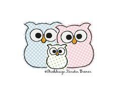 Eulen Familie ♥ Eulen mit Kind. Doodle Stickdatei für eine Stickmaschine. Owl family with child. Doodle owl appliqué embroidery for embroidery machines. ♥  #sticken #eulenliebe #owllove #kids