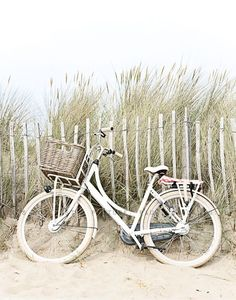 bicycle on the beach, california summer, white bike