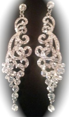 AB Crystal Silver Prom Earrings   Jewels & More   Pinterest   Prom ...