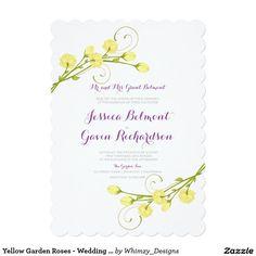 "Yellow Garden Roses - Wedding invitation 5"" X 7"" Invitation Card"