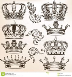 Collection of vector detailed crowns royalty-free collection of vector detailed crowns stock vector art & more images of animal's crest logo Vector set of crowns for your heraldic design Tattoo Drawings, Body Art Tattoos, Baroque Frame, Crown Silhouette, Crown Tattoo Design, Tattoo Crown, Crown Drawing, Crown Art, Graffiti Tattoo