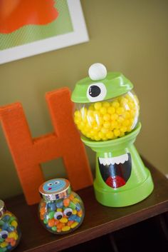 DIY MONSTER PARTY gumball candy machine via Kara's Party Ideas karaspartyideas.com #monster #party #idea #gumball #candy #machine #favor #diy