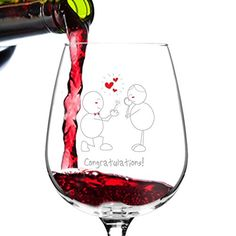 Congratulations Engagement Wine Glass 1275 oz  Romantic Red or White Wine Glass Gift  Made in USA  Present Idea for Recently Engaged Woman Her Couples >>> Read more info by clicking the link on the image.