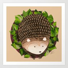 Paper Hedgehog Art Print by Megan Leitschuh - $17.00