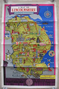 A Map of Lincolnshire, by M Sims. A poster full of humourous portrayals of people and places around Lincolnshire. It also shows all the railway lines which then existed through the county and all of the stations, showing how easily accessible it all was by train. Original Vintage Railway Poster available on originalrailwayposters.co.uk