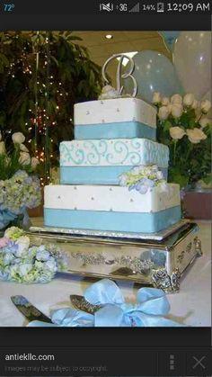 Baby Blue Wedding Cake