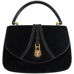 86256bb5460 Preowned Gucci Vintage Black Suede Top Handle Bag With Leather -... (43