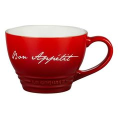 Le Creuset Bon Appetit Bistro Stoneware Mug ($20) ❤ liked on Polyvore featuring home, kitchen & dining, drinkware, red, le creuset mugs, red mug, le creuset stoneware, le creuset and red stoneware