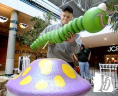 York County School of Technology junior Jared Enfield constructs a garden sculpture at the school's annual Easter display at the Galleria Mall Tuesday, Feb. 26, 2013.The school's twenty Landscape Construction and Design students were installing the exhibit outside the J.C. Penny store as part of an annual class project. Class instructor Melissa Trocheck said the project will take two days. Bill Kalina photo bkalina@yorkdispatch.com