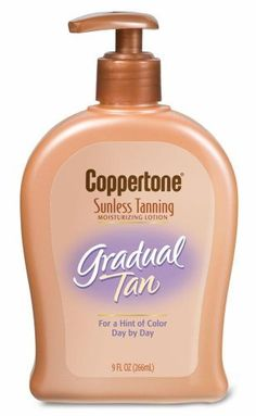 Coppertone Sunless Tanning Moisturizing Lotion, Gradual Tan, 9-Ounce Pump Bottles (Pack of 2) by Coppertone. $32.00. Contains a gentle tanning agent that blends with your natural skin tone. Contains moisturizers and Vitamin E. For a flawless, natural-looking tan you can control. Case of two 9-ounce pump bottles of sunless tanning moisturizing lotion (total of 18 ounces). Won't clog pores; dries quickly. Coppertone Endless Summer Gradual Tan Moisturizing Lotion is the e...