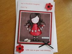 #Large a5 #personalised handmade simply gorjuss #birthday card: daughter 16th 21s,  View more on the LINK: http://www.zeppy.io/product/gb/2/351573664339/