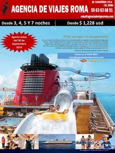 Últimos días de Promoción Crucero Disney Aparta antes del 30 de Septiembre y viaja en 2014 y 2015 pregunta por las fechas a: roma@agenciadeviajesroma.com Tel: 6363-6851