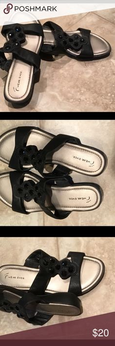 "Black Sandals, Barely Worn  - size 7 Wear Ever ""Libby"" black sandals with jewels on top.  I only wore these 5 or 6 times. Injured my foot so I can't wear slip ones anymore.  Very comfortable. Wear Ever Shoes Sandals"