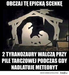 Science v Religion. Is it a nativity scene or two Tyrannosaurus Rex fighting over a watermelon? Best Funny Pictures, Funny Photos, Rage, Funny Jokes, Hilarious, Christian Memes, Atheist, Anime Manga, Dankest Memes