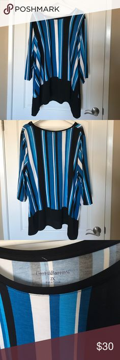 NWOT Croft & Barrow blue black Stripe Tunic 2x NWOT Croft & Barrow blue, black, white stripe long tunic, perfect to wear with leggings. Amazing stretch to this, plus size 2x. I only have 2 of these so act quick. Need a matching accessory or need help styling? Comment below and I can share selections to you to choose from and create the perfect bundle offer personalized just for you. croft & barrow Tops Tunics