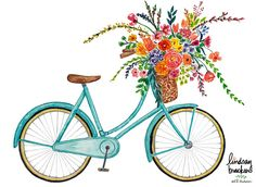 Vintage Blue Bike Art Print by Lindsay Brackeen - X-Small Flowers Illustration, Bicycle Illustration, Illustration Blume, Watercolor Illustration, Bicycle Sketch, Bicycle Drawing, Bicycle Painting, Art Floral, Floral Watercolor
