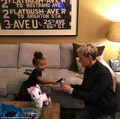 North West and Ellen DeGeneres brush My Little Pony's hair in Kim Kardashian snap | Daily Mail Online