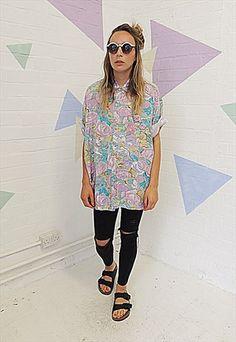 Vintage 80's Pastel Floral Oversized Shirt
