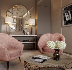 Love the seating COMPLETELY ECLECTIC, I ADORE THE QUIRKINESS OF THIS FABULOUS ROOM, WITH ITS' GORGEOUS PINK CHAIRS, SUPERB MIRROR & DIVINE DECOR! #️⃣