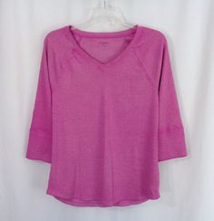Womens RUFF HEWN Purple Ribbed Knit V-Neck ¾ Sleeve Henley Top Size Medium #RuffHewn #KnitTop #Casual