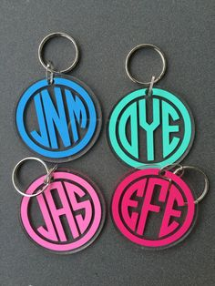 circle monogram keychain acrylic keychain by SouthernChicDesigns1