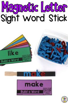 Are you looking for an independent sight word activity for your kids? Creating a Magnetic Letter Sight Word Stick is a fun, hands-on way for your children to practice reading and spelling their sight words. You can also use a plastic container such as pencil box to create this entertaining word word center! Click on the picture to learn how to make this hands-on sight word activity! #sightwordactivity #sightwords #literacycenter #magneticletters #wordword