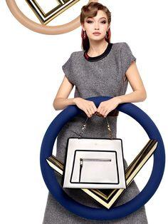 Gigi Hadid poses with the Fendi F logo for fall-winter 2017 campaign