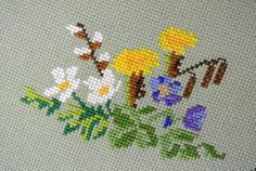 Well done vintage 1960s handmade table-cloth with cross-stitch