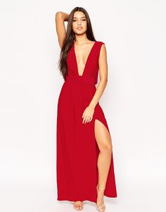Image 4 ofASOS TALL Drape V Neck Belted Maxi Dress