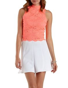 Sleeveless Mock Neck Lace Top: Charlotte Russe