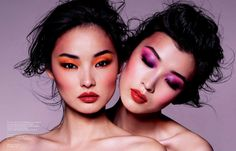 Clash – Chinese publication ROUGE has proven to have some of the most striking beauty images in fashion, and its new spring issue is no exception to the rule. Photographed by Stockton Johnson with art direction by Antoine Neufmars, models Miao Bin Si and Ma Jing sport daring hues on their eyes with ruby red lips in the stunning portraits.