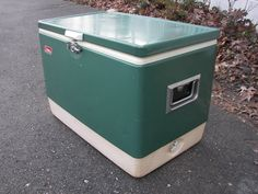 Vintage Coleman Cooler Large Green And White