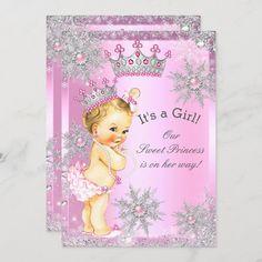 Invitación Princesa Dulce Baby Shower Maravilla Rosa