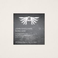 Wings / Monogram / Grungy Square Business Card - makeup artist gifts style stylish unique custom stylist