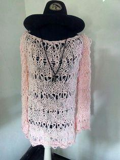 Sueter rosa de hilo de algodon tejido con dos agujas y calado Ando diseños!