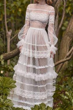 Costarellos Bridal Neo-Romantic Tiered Long Dress Source by shantishanti dresses Lace Dresses, Custom Dresses, Trendy Dresses, Elegant Dresses, Beautiful Dresses, Prom Dresses, Wedding Dresses, Dress Lace, Boho Beautiful
