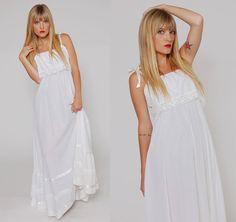 Vintage 70s White Lace Polka Dot Maxi Dress Boho Wedding Dress by LotusvintageNY
