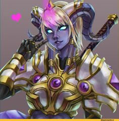 Oh please, Blood elves are by far the most stuck-up sticks in the mud and soooo bland. And Dark Rangers? A corpse is still a corpse no matter how much you pretty it up. Draenei are the way to go. All other options are inferior. Yrel for best girl Draenei Female, Wow Draenei, Tiefling Paladin, Fantasy Races, Fantasy Rpg, Fantasy Girl, Fantasy Warrior, Character Portraits, Character Art