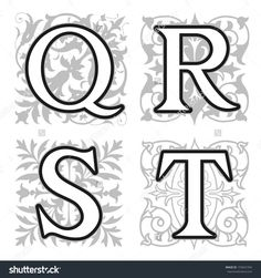 Decorative Q R S T Alphabet Letters With Vintage Floral Elements In Different Designs A Square Format Behind Each Uppercase Colorful Letter