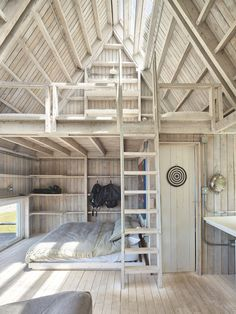 Architect Mathias Klotz creates a pair of cottages for his family's retreat on a remote island in southern Chile. Tyni House, Tiny House Cabin, Tiny House Design, A Frame Cabin, A Frame House, Cabin Plans, House Plans, Cabin Loft, Roof Beam